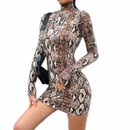 Frauen Schlangenleder Print Zebra Animal Print Club Kleid Rollkragen Sexy Bodycon Party Minikleid (S, D) - 1
