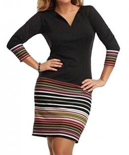 Frauen Sommer Herbst Tief V Ausschnitt 3/4-Arm Sommerkleid Casual Gestreift Minikleid T-Shirts Kleider Freizeitkleid Blusenkleider Wickeloptik (EU38, Schwarz) -