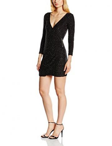 French Connection Damen Wickel Kleid SPARKLE NIGHTS LS VNK DRESS, Midi, Gr. 32 (Herstellergröße: 6), Schwarz (BLACK 1) - 1