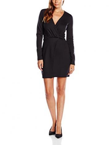 French Connection Damen Wickel Kleid VALENTINE VISCOSE ROUCHD DRESS, Midi, Einfarbig, Gr. 40 (Herstellergröße: 14), Schwarz (BLACK 1) - 1