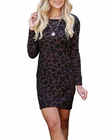 Frühling Herbst Damen Leopardenprint Minikleid Mode Rundhals Langarm Kleid Wickelkleider Sexy Etui Kleider Tunikakleid Cocktailkleid Partykleider, Braun, S - 1
