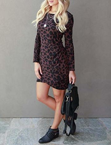 Frühling Herbst Damen Leopardenprint Minikleid Mode Rundhals Langarm Kleid Wickelkleider Sexy Etui Kleider Tunikakleid Cocktailkleid Partykleider, Braun, S - 2