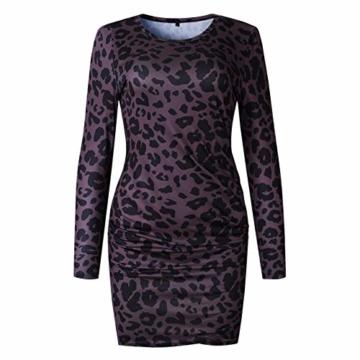 Frühling Herbst Damen Leopardenprint Minikleid Mode Rundhals Langarm Kleid Wickelkleider Sexy Etui Kleider Tunikakleid Cocktailkleid Partykleider, Braun, S - 4