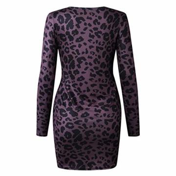 Frühling Herbst Damen Leopardenprint Minikleid Mode Rundhals Langarm Kleid Wickelkleider Sexy Etui Kleider Tunikakleid Cocktailkleid Partykleider, Braun, S - 5