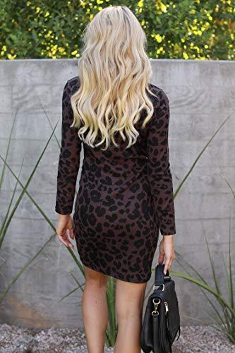 Frühling Herbst Damen Leopardenprint Minikleid Mode Rundhals Langarm Kleid Wickelkleider Sexy Etui Kleider Tunikakleid Cocktailkleid Partykleider, Braun, L - 3