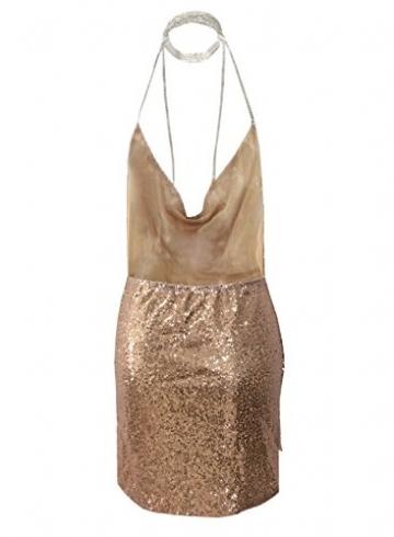 Futurino Damen Frühling/Sommer Casual Glanz Rückenfrei Sequin Split Mini Kleider Kurz Strand Urlaub Neckholder Bodycon Clubwear Rose Gold -