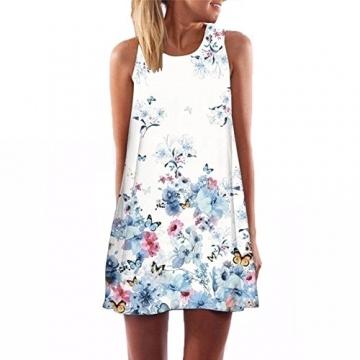 Gaosa Tunika Strand Damen Sommerkleid Blumenmuster Frauen Kleider Knielang I Size2 -
