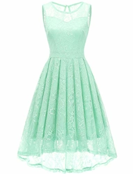Gardenwed Damen Kleid Retro Ärmellos Kurz Brautjungfern Kleid Spitzenkleid Abendkleider CocktailKleid Partykleid Mint XS - 1