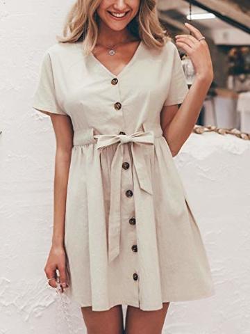 GARYOB Damen V Ausschnitt Sommerkleid Vintage Taste Kleid Kurze Ärmel Leinen Kurze Kleider Strandkleid - 2