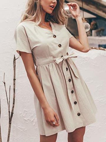 GARYOB Damen V Ausschnitt Sommerkleid Vintage Taste Kleid Kurze Ärmel Leinen Kurze Kleider Strandkleid - 3