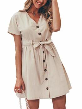 GARYOB Damen V Ausschnitt Sommerkleid Vintage Taste Kleid Kurze Ärmel Leinen Kurze Kleider Strandkleid - 1