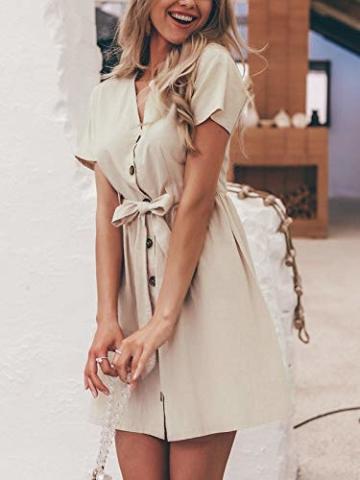 GARYOB Damen V Ausschnitt Sommerkleid Vintage Taste Kleid Kurze Ärmel Leinen Kurze Kleider Strandkleid - 4