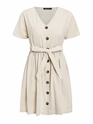 GARYOB Damen V Ausschnitt Sommerkleid Vintage Taste Kleid Kurze Ärmel Leinen Kurze Kleider Strandkleid - 6