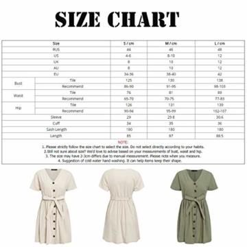 GARYOB Damen V Ausschnitt Sommerkleid Vintage Taste Kleid Kurze Ärmel Leinen Kurze Kleider Strandkleid - 7