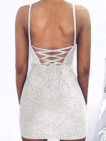 GARYOB Kleider Damen Glitzer Minikleider Elegant Rückenfreies Bodycon Kleid Spaghetti Strap Stretchy Partykleider - 3