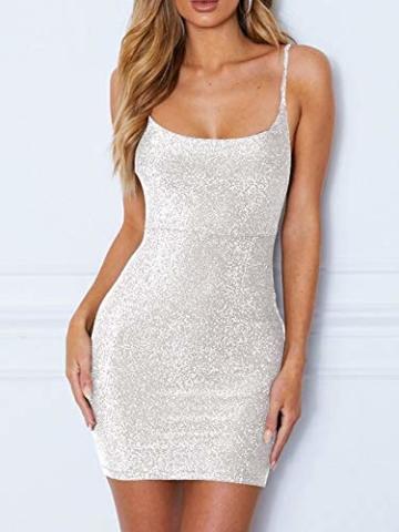 GARYOB Kleider Damen Glitzer Minikleider Elegant Rückenfreies Bodycon Kleid Spaghetti Strap Stretchy Partykleider - 4