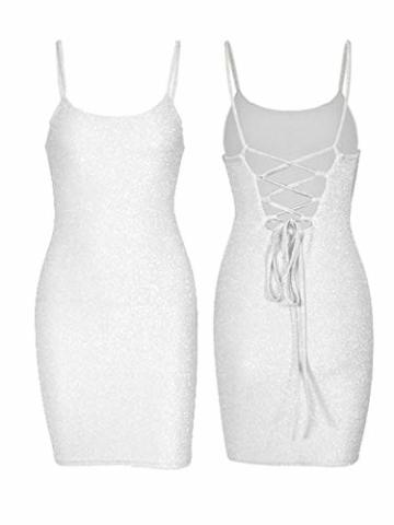 GARYOB Kleider Damen Glitzer Spaghetti Strap Stretchy Partykleider, Weiß, Gr.- 36-38 EU/ Large - 5