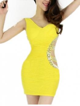 Gelb Sexy Short Above Knee Sleeveless Clubwear Abend Cocktail Kleid Damen Kleider - 1