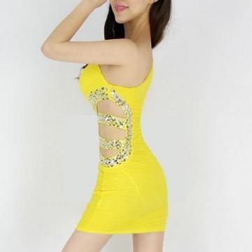 Gelb Sexy Short Above Knee Sleeveless Clubwear Abend Cocktail Kleid Damen Kleider - 2