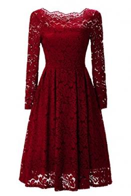 Gigileer 50s Damen Kleider Spitzenkleid Schulterfrei Langarm knielang festlich Cocktail Abendkleid Rot S -