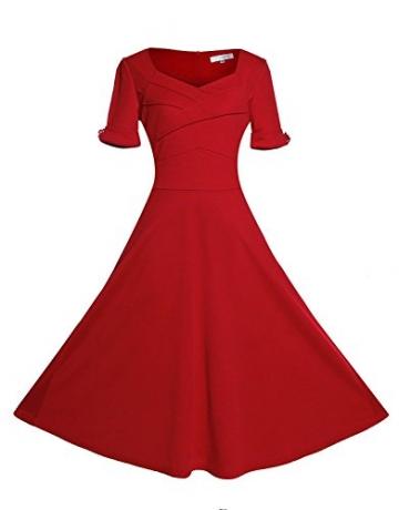 Gigileer Elegant 50s Rockabilly Damen Kleider Cocktailkleid Winter Knielanges Kurzarm festlich hochzeit rot L -