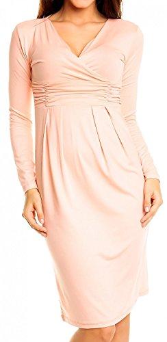 Glamour Empire Damen Bleistiftkleid V-Ausschnitt Kleid Langarm Freizeitkleid 285 (Aprikose, 46) -