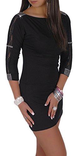 Glamour Empire Damen Elegantes Mini-Kleid mit Spitze Cocktailkleid 121 (Schwarz, 38) - 1