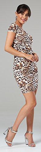 Glamour Empire Damen Jersey Gerafftes Tulpenkleid mit Taschen Gr. 38-44. 806 (Leopard, EU 42, XL) - 2