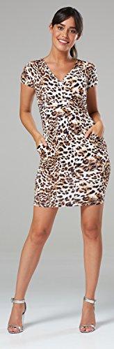 Glamour Empire Damen Jersey Gerafftes Tulpenkleid mit Taschen Gr. 38-44. 806 (Leopard, EU 42, XL) - 4