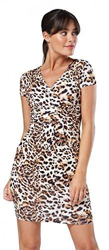 Glamour Empire Damen Jersey Gerafftes Tulpenkleid mit Taschen Gr. 38-44. 806 (Leopard, EU 42, XL) - 1