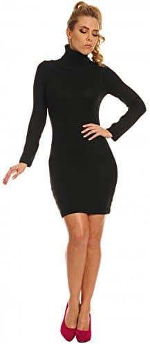 Glamour Empire. Damen Strickkleid Minikleid mit Stehkragen Rollkragen. 888 (Schwarz, 36/40) -