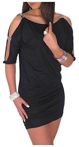 Glamour Empire Damen Tunik Top mit Armschlitz Mini-Kleid Schwarz Partykleid 157 (Schwarz, EU 36/38, S) -