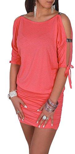 Glamour Empire Damen Tunik Top mit Armschlitz Mini-Kleid Schwarz Partykleid 157 (Koralle, EU 42/44, XL) -
