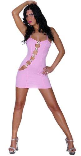 Gogo-Kleid mit Strass-Schnallen verziert Einheitsgröße (32-36), rosa - 1