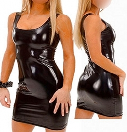 GoGo Minikleid Schwarz Glanz Wetlook Gr. S-M 36 38 - 1