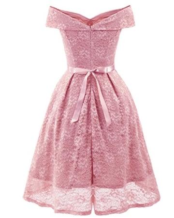 Gorgeous Bride Damen Fashion Kurz Spitze V-Ausschnitt Packung-Schulter Abendkleider Cocktailkleider Partykleider Abschlussballkleider-XXL-Rosa - 2