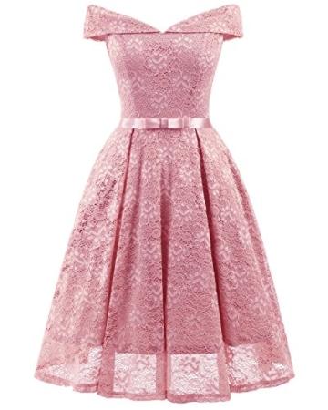 Gorgeous Bride Damen Fashion Kurz Spitze V-Ausschnitt Packung-Schulter Abendkleider Cocktailkleider Partykleider Abschlussballkleider-XXL-Rosa - 1