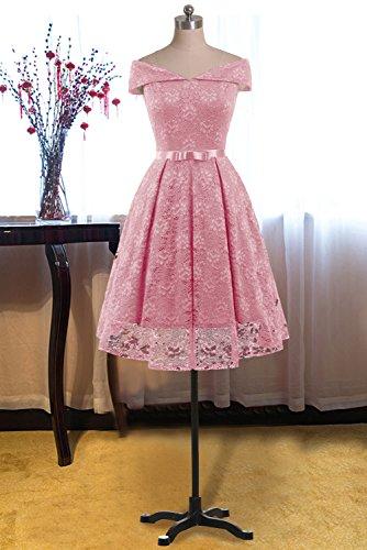 Gorgeous Bride Damen Fashion Kurz Spitze V-Ausschnitt Packung-Schulter Abendkleider Cocktailkleider Partykleider Abschlussballkleider-XXL-Rosa - 5