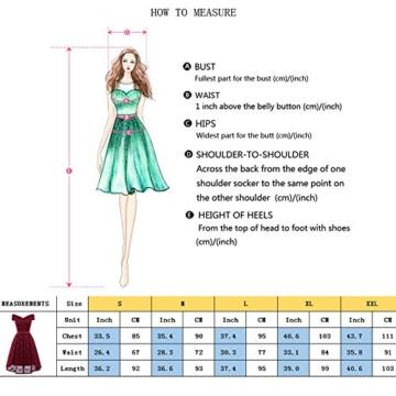 Gorgeous Bride Damen Fashion Kurz Spitze V-Ausschnitt Packung-Schulter Abendkleider Cocktailkleider Partykleider Abschlussballkleider-XXL-Rosa - 6