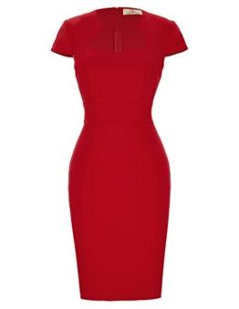 GRACE KARIN rote elegant 50s Retro Vintage Rockabilly Kleid festlich bleistiftkleid Kurzarm Bodycon Kleid CL8947-2 M - 1