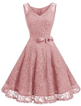 GREMMI Damen Spitzen Abendkleider Partykleid Schwingen Cocktailkleid Ärmellos Spitzenkleid Festlich Brautjungfern Floral Kleid - 1