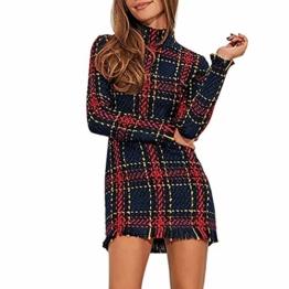 Gusspower Damen Pulloverkleid Winter Tunika Kleid Karierte Hochgeschlossen Reißverschluss Quaste Vintage Slimfit Langarm Minikleid - 1