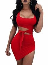 Haimoburg Damen Sexy Kleid Bodycon Clubwear Kleider Minikleid Partykleid (Rot, S) - 1
