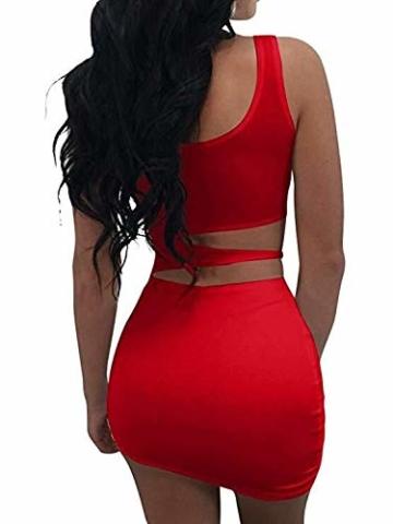 Haimoburg Damen Sexy Kleid Bodycon Clubwear Kleider Minikleid Partykleid (Rot, S) - 2