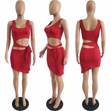 Haimoburg Damen Sexy Kleid Bodycon Clubwear Kleider Minikleid Partykleid (Rot, S) - 3