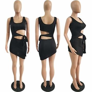 Haimoburg Damen Sexy Kleid Bodycon Clubwear Kleider Minikleid Partykleid (Schwarz, S) - 3