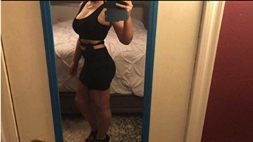 Haimoburg Damen Sexy Kleid Bodycon Clubwear Kleider Minikleid Partykleid (Schwarz, S) - 4