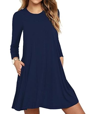 HAOMEILI Damen Langarm Stretch Casual Loose T-Shirt Kleid M Navy Blau - 1