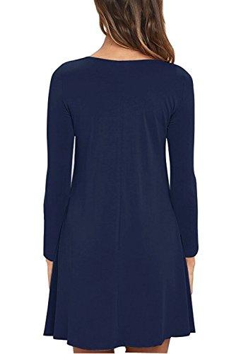 HAOMEILI Damen Langarm Stretch Casual Loose T-Shirt Kleid M Navy Blau - 2