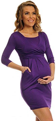 Happy Mama. Damen Umstands-Kleid. Schwangerschafts Tulpenkleid mit Taschen. 252p (Lila, EU 44) -